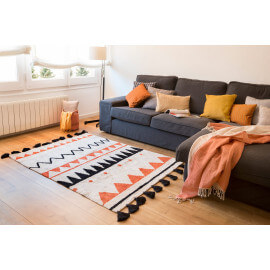 Tapis avec franges lavable en machine terracota Azteca Lorena Canals