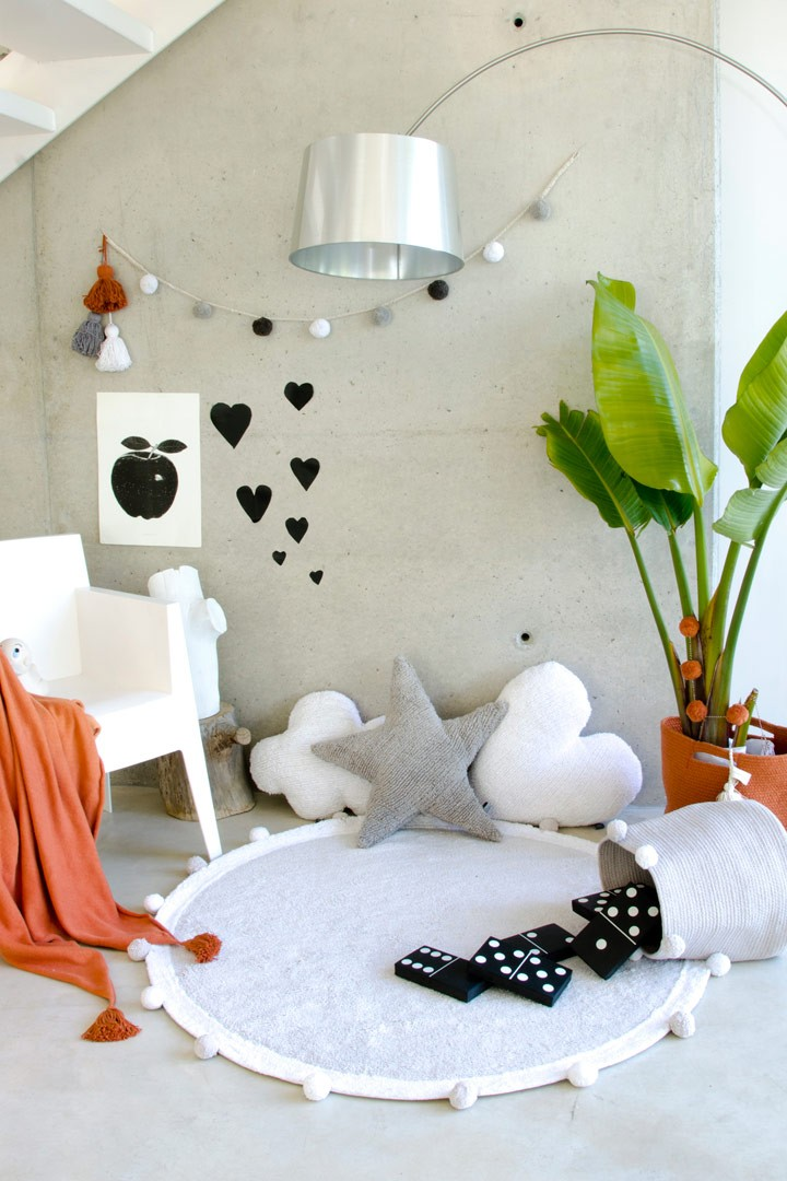 Tapis chambre enfant rond gris bubbly lorena canals - Tapis chambre enfants ...