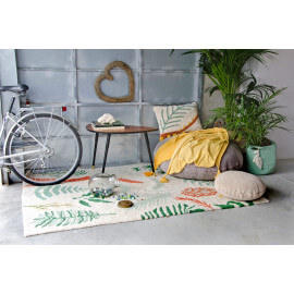 Tapis de salon avec franges multicolore Botanic Plants Lorena Canals