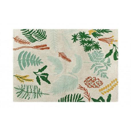Tapis de salon avec franges multicolore Botanic Plants Lorena Canals