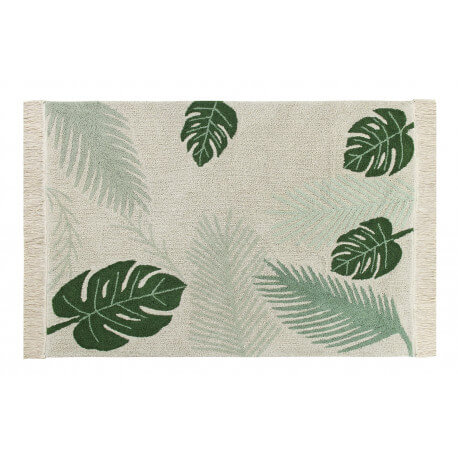 Tapis vert à courtes mèches lavable en machine Tropical Lorena Canals