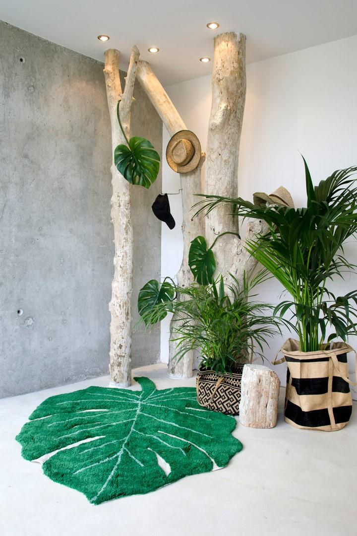 tapis en forme de feuille vert pour salon monstera lorena. Black Bedroom Furniture Sets. Home Design Ideas
