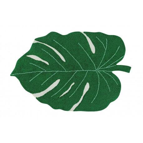 Tapis en forme de feuille vert pour salon Monstera Lorena Canals
