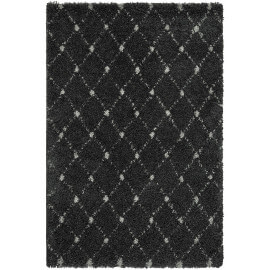 Tapis design pour salon shaggy anthracite Aberti