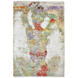 Tapis moderne noué main en laine, viscose et bambou multicolore Breeze