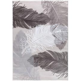 Tapis avec motifs fleurs argenté à courtes mèches Oumka