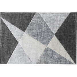 Tapis géométrique moderne argenté Tropez
