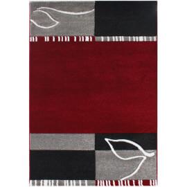 Tapis noir et rouge moderne à courtes mèches Atsina