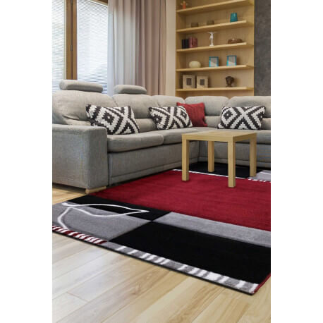 tapis noir et rouge moderne courtes m ches atsina. Black Bedroom Furniture Sets. Home Design Ideas