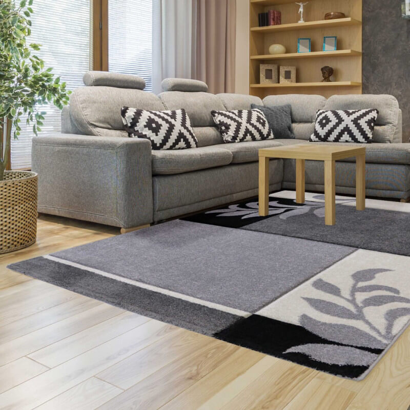 tapis fleuris gris contemporain de salon mira. Black Bedroom Furniture Sets. Home Design Ideas