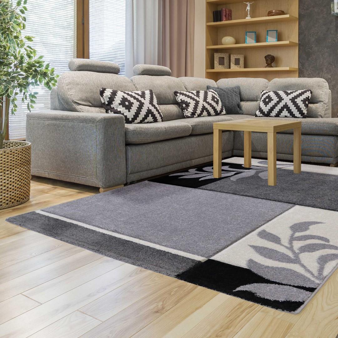 Tapis fleuris gris contemporain de salon Mira - AlloTapis.com