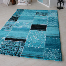 Tapis style patchwork turquoise à poils court Codosera
