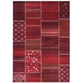 Tapis style patchwork rouge à poils court Codosera
