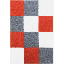 Tapis à longues mèches orange en damier Lewis