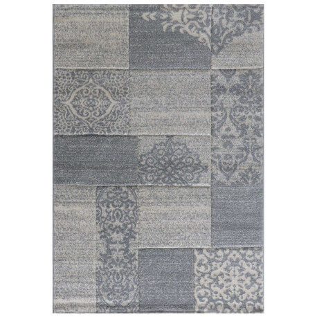 Tapis gris finition à la main contemporain Furil