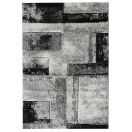 Tapis géométrique rayé gris design Mojave
