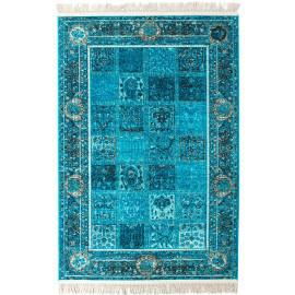 Tapis avec franges turquoise style orient Vizca