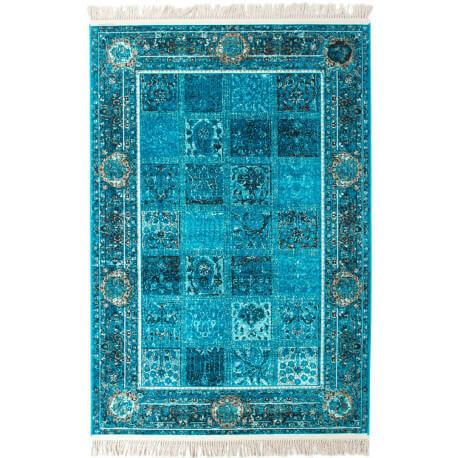 tapis avec franges turquoise style orient vizca - Tapis Turquoise