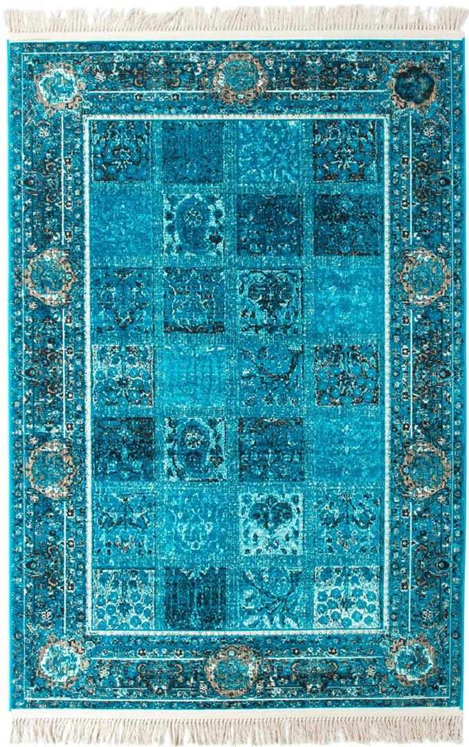 Tapis Avec Franges Turquoise Style Orient Vizca Allotapiscom