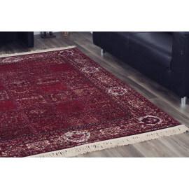 Tapis rouge avec franges style oriental Vizca