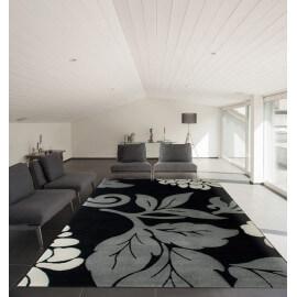Tapis fleuris gris moderne pour intérieur Trapani