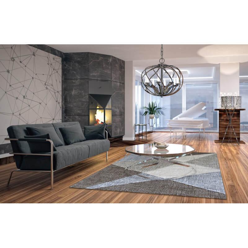 tapis g om trique moderne beige tropez. Black Bedroom Furniture Sets. Home Design Ideas