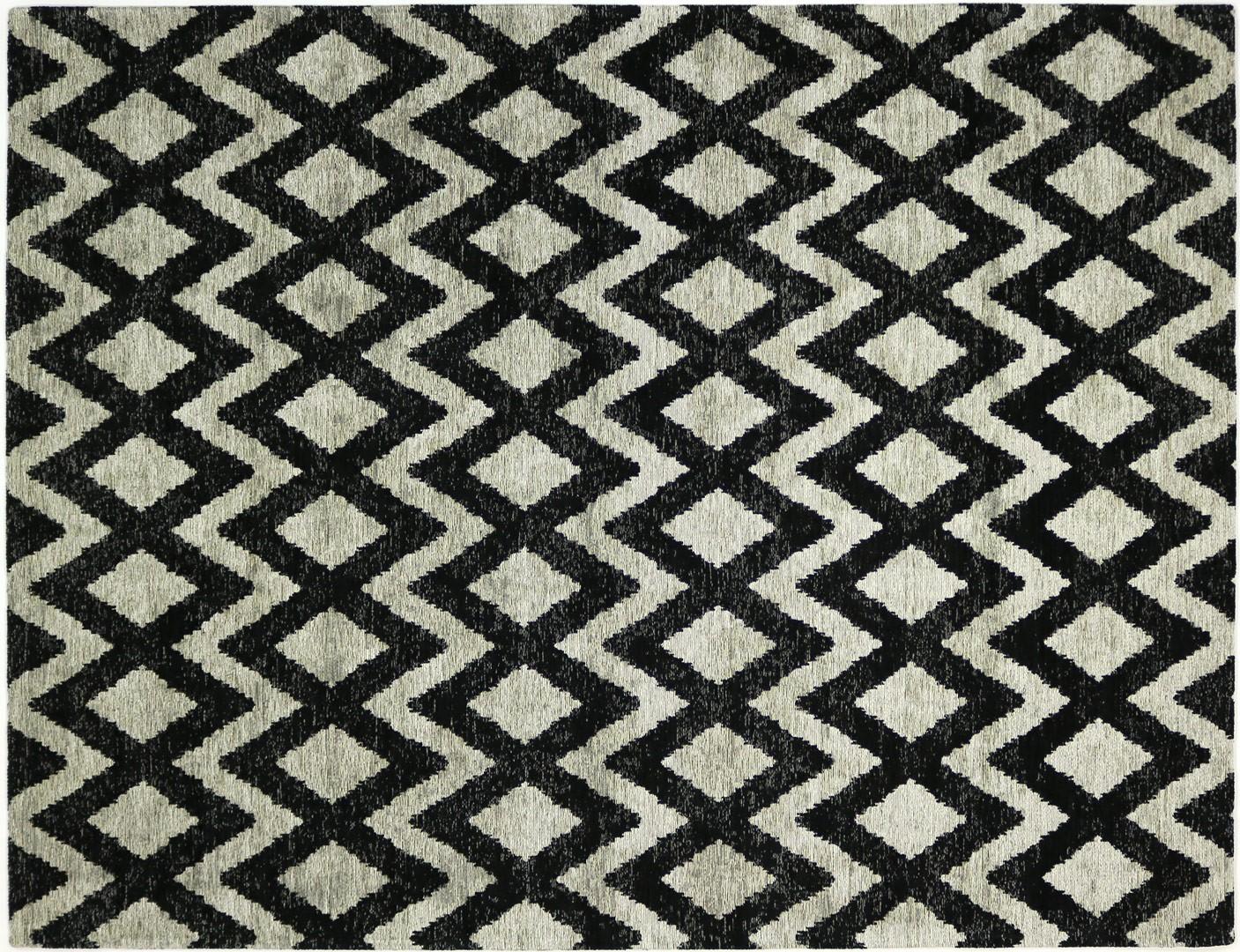 Tapis géométrique plat rectangle beige et noir Rombina
