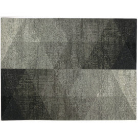 Tapis géométrique plat rectangle argenté Nika