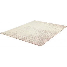 Tapis rayé cubique rose de salon Check