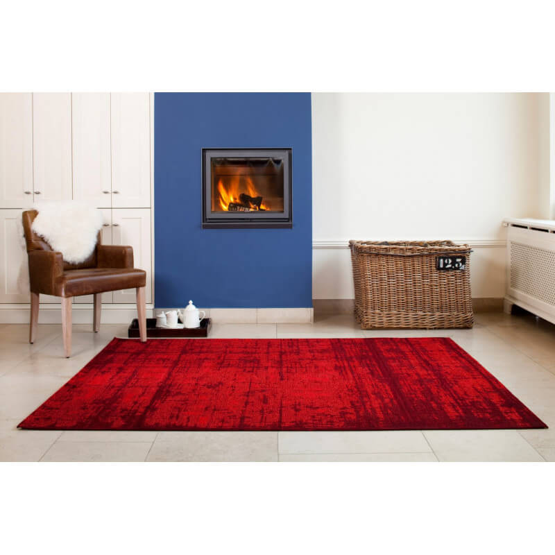Tapis tendance de salon rouge plat lounge - Tapis de salon rouge ...