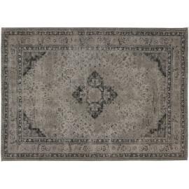 Tapis style oriental en coton gris souris Sarouk