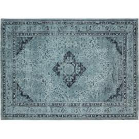 Tapis style oriental en coton bleu Sarouk