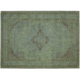 Tapis style oriental en coton vert pastel Sarouk