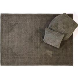 Tapis style oriental en coton taupe pastel Sarouk