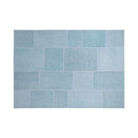 Tapis effet patchwork plat bleu pastel Moods