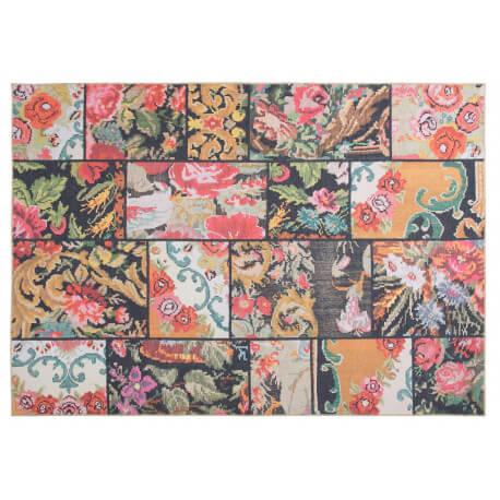 Tapis effet patchwork plat multicolore floral Moods
