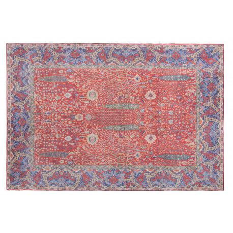 tapis oriental pour salon plat rouge et bleu moods - Tapis Oriental Rouge