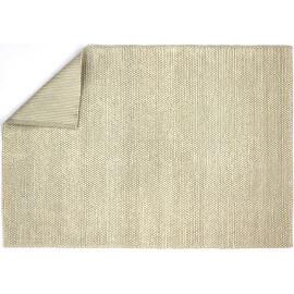 Tapis noué main en coton et laine beige Kingstown