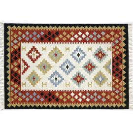 Tapis plat en coton avec franges multicolore Jodhpur