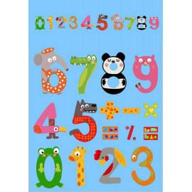 Tapis pour enfant ludique multicolore Numbers