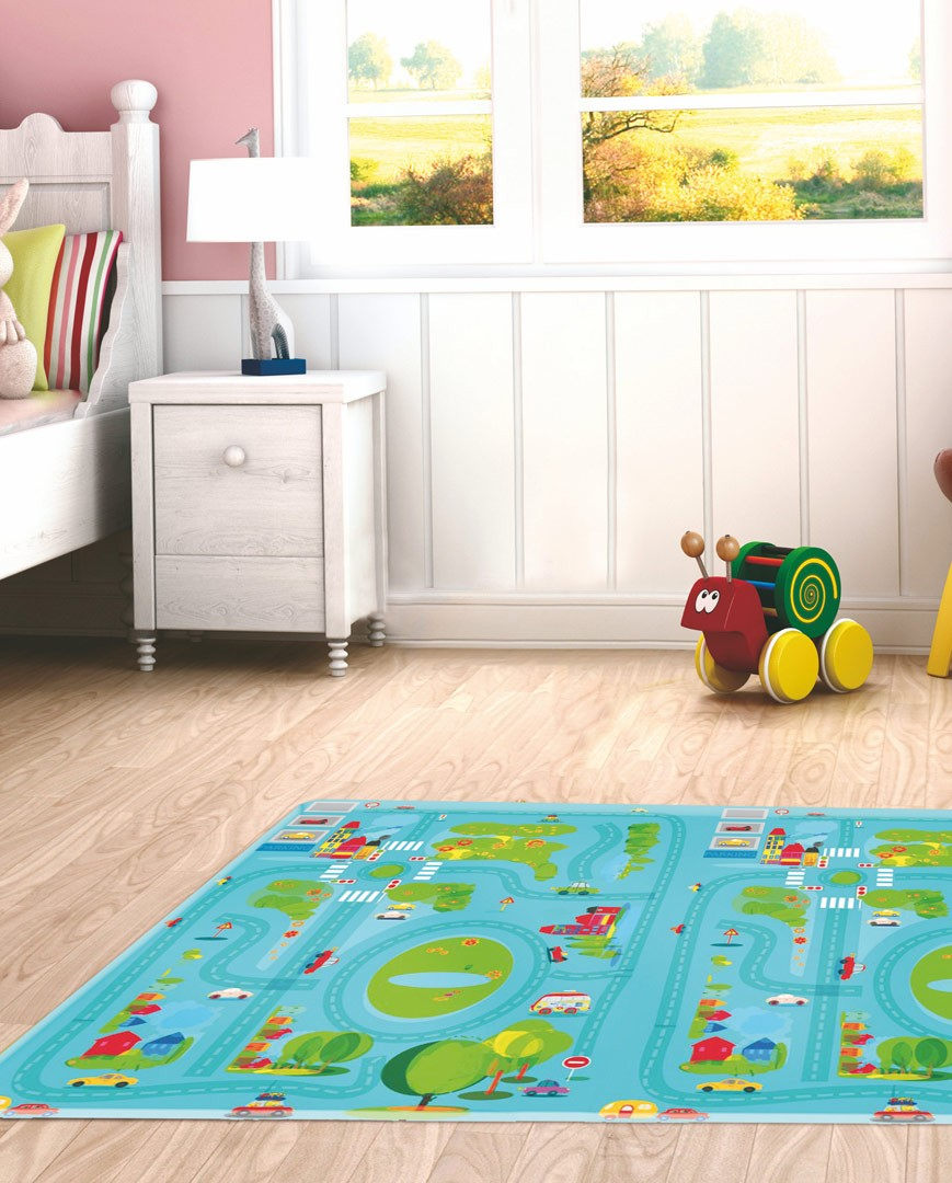 tapis pour enfant ludique multicolore traffic. Black Bedroom Furniture Sets. Home Design Ideas