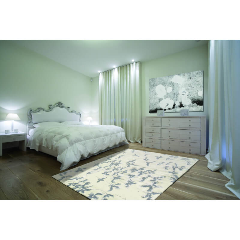 tapis de chambre blossom blanc et gris par angelo. Black Bedroom Furniture Sets. Home Design Ideas