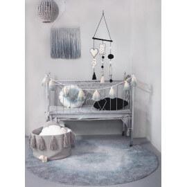 Tapis rond pour enfant lavable en machine gris et bleu Tie-Dye Lorena Canals
