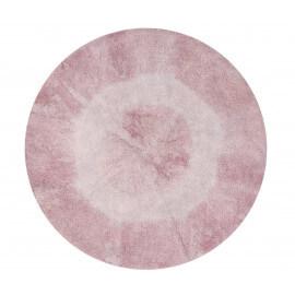 Tapis rond pour enfant lavable en machine rose et beige Tie-Dye Lorena Canals