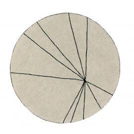 Tapis géométrique rond beige Trace Lorena Canals