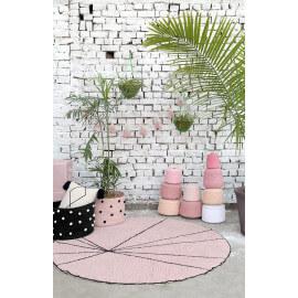 Tapis géométrique rond beige et rose Lorena Canals