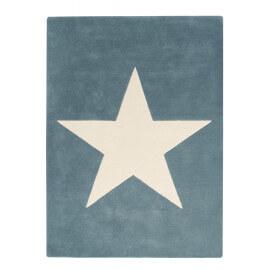 Tapis en laine et coton bleu gris enfant Big Star Lorena Canals