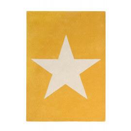 Tapis en laine et coton jaune moutarde enfant Big Star Lorena Canals