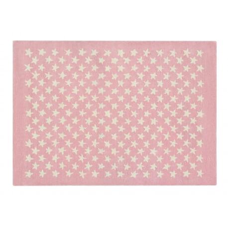 Tapis chambre enfant laine et coton rose et beige Little Star Lorena ...