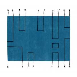 Tapis scandinave avec franges bleu pétrole Nordic Lines Lorena Canals